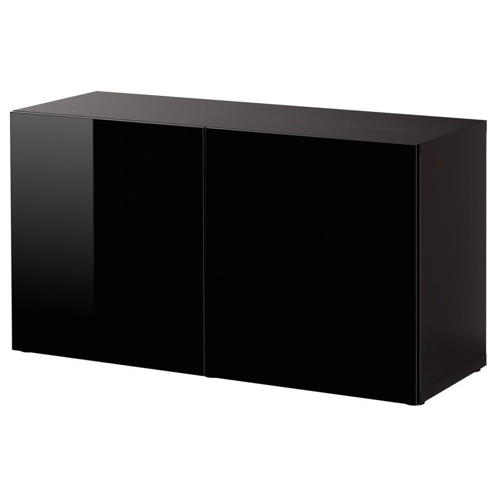 БЕСТО Стеллаж с дверьми, черно-коричневый, Сельсвикен глянцевый/черный