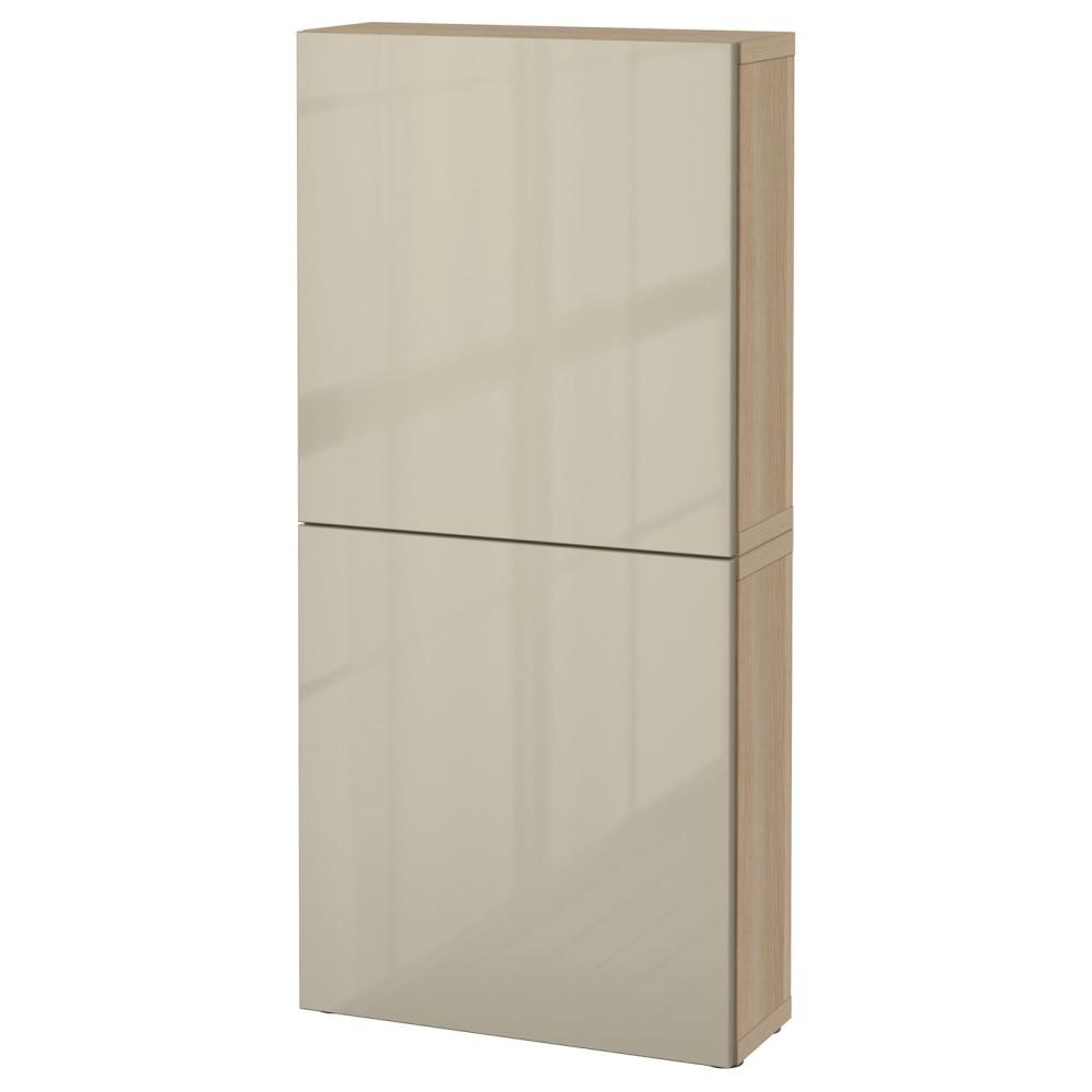 БЕСТО Навесной шкаф с 2 дверями, под беленый дуб, Сельсвикен глянцевый/бежевый