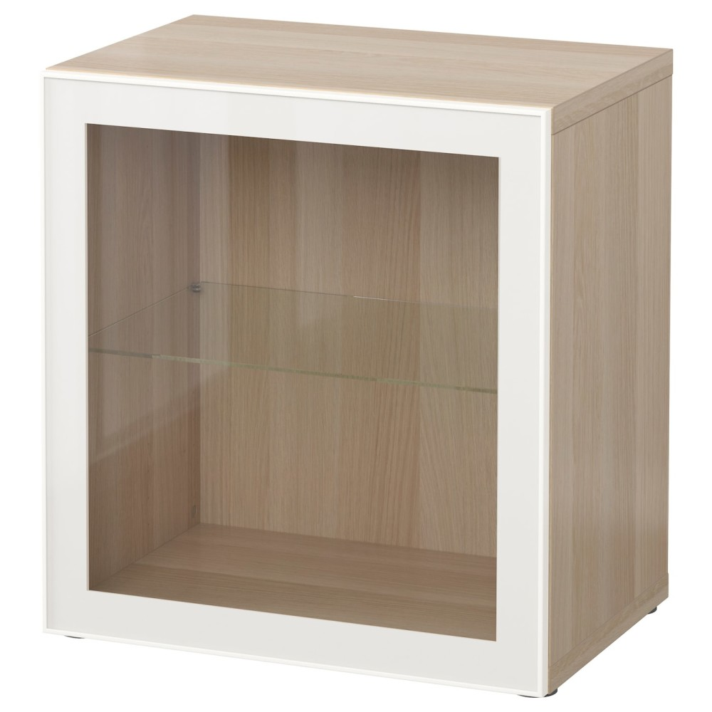 БЕСТО Стеллаж со стеклянн дверью, под беленый дуб, Глассвик белый прозрачное стекло