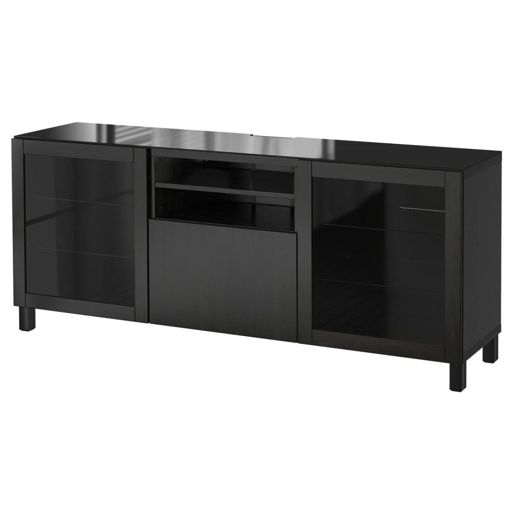 БЕСТО Тумба под ТВ, черно-коричневый Лаппвикен, Синдвик черно-коричневый прозрачное стекло