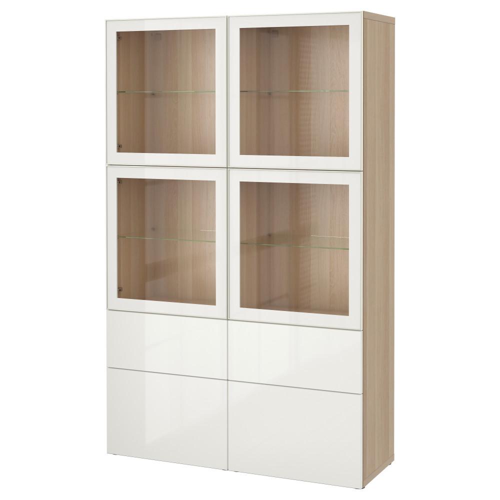 БЕСТО Комбинация д/хранения+стекл дверц, под беленый дуб, Сельсвикен глянцевый/белый прозрачное стекло