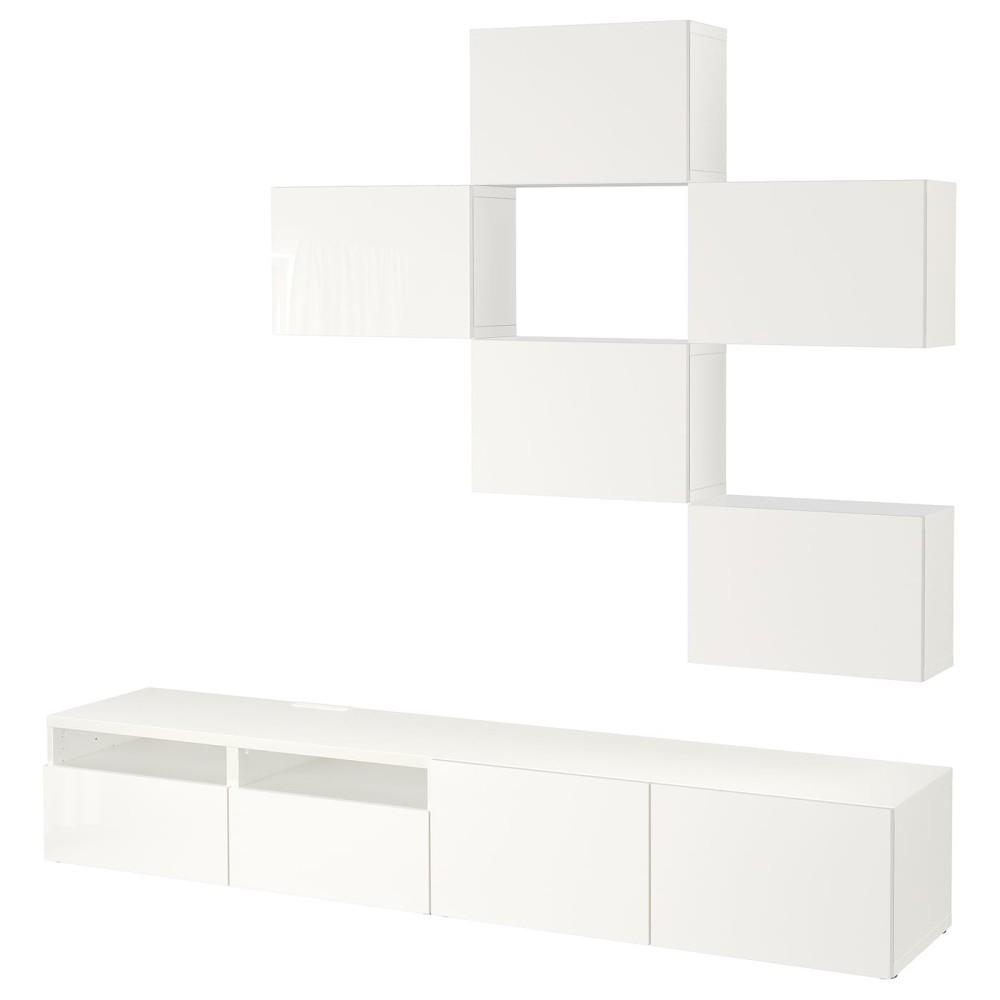 БЕСТО Шкаф для ТВ, комбинация, белый, Сельсвикен глянцевый/белый