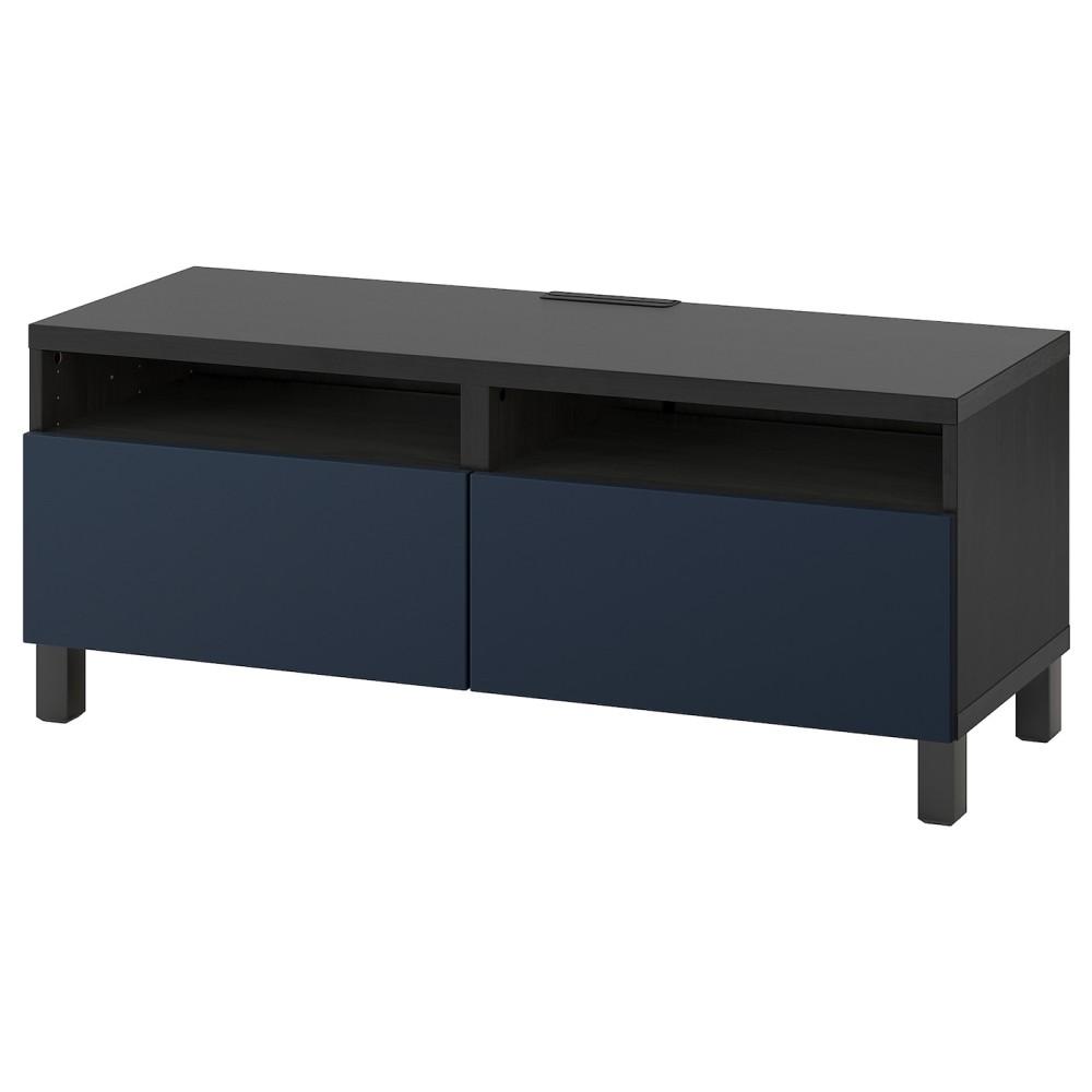 БЕСТО Тумба д/ТВ с ящиками, черно-коричневый, нотвикен/стуббарп синий