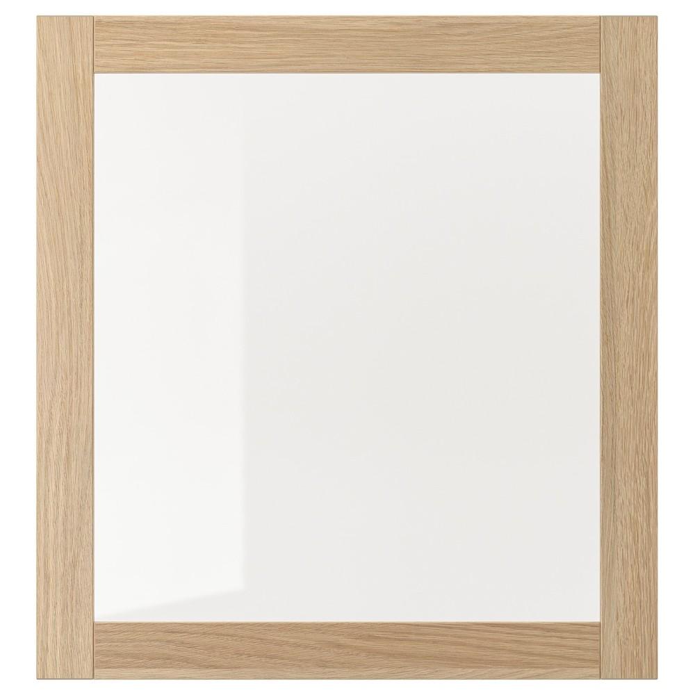 СИНДВИК Стеклянная дверь, под беленый дуб, прозрачное стекло