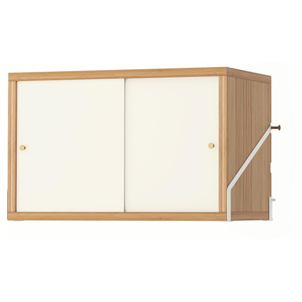 СВАЛЬНЭС Шкаф с 2 дверьми, бамбук, белый