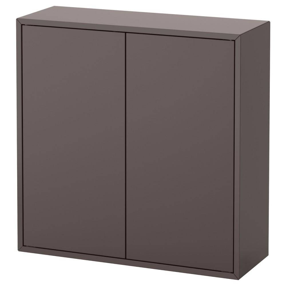 ЭКЕТ Шкаф с 2 дверцами и 2 полками, темно-серый