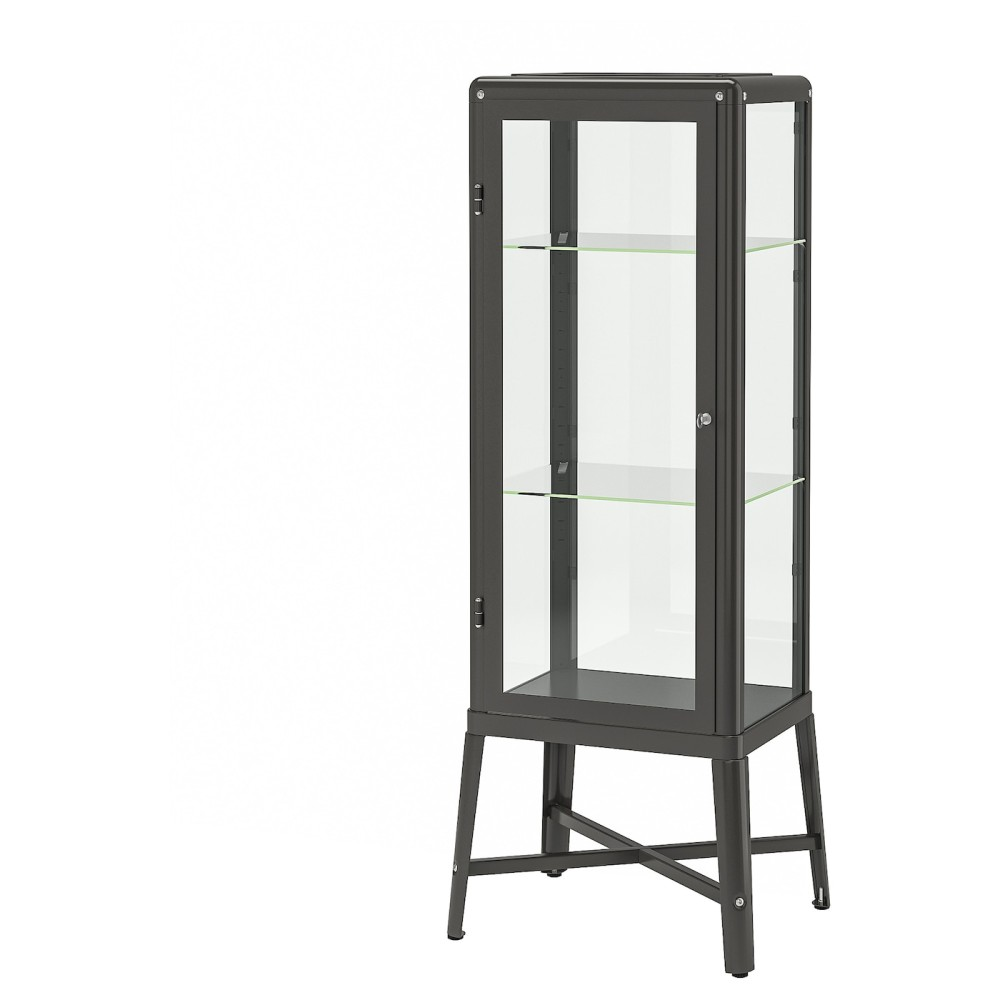 ФАБРИКОР Шкаф-витрина, темно-серый