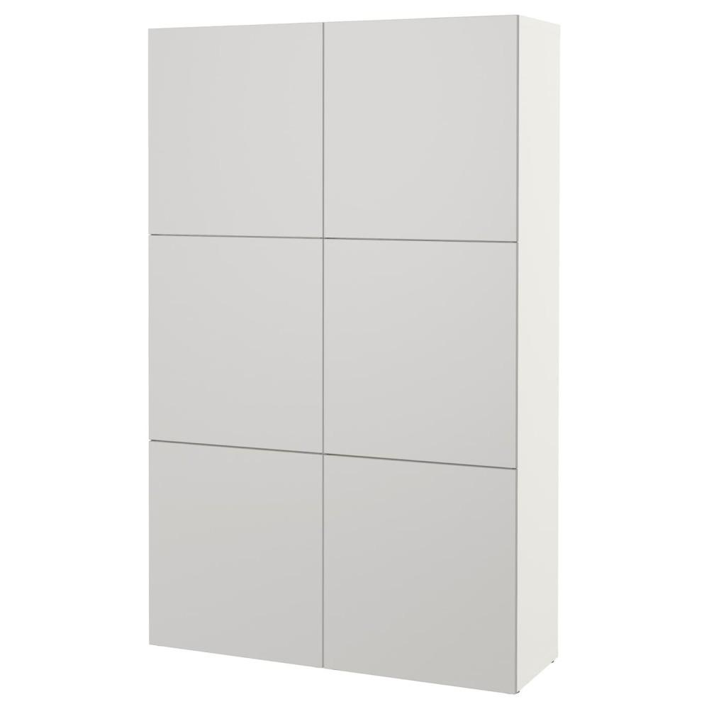 БЕСТО Комбинация для хранения с дверцами, белый, Лаппвикен светло-серый