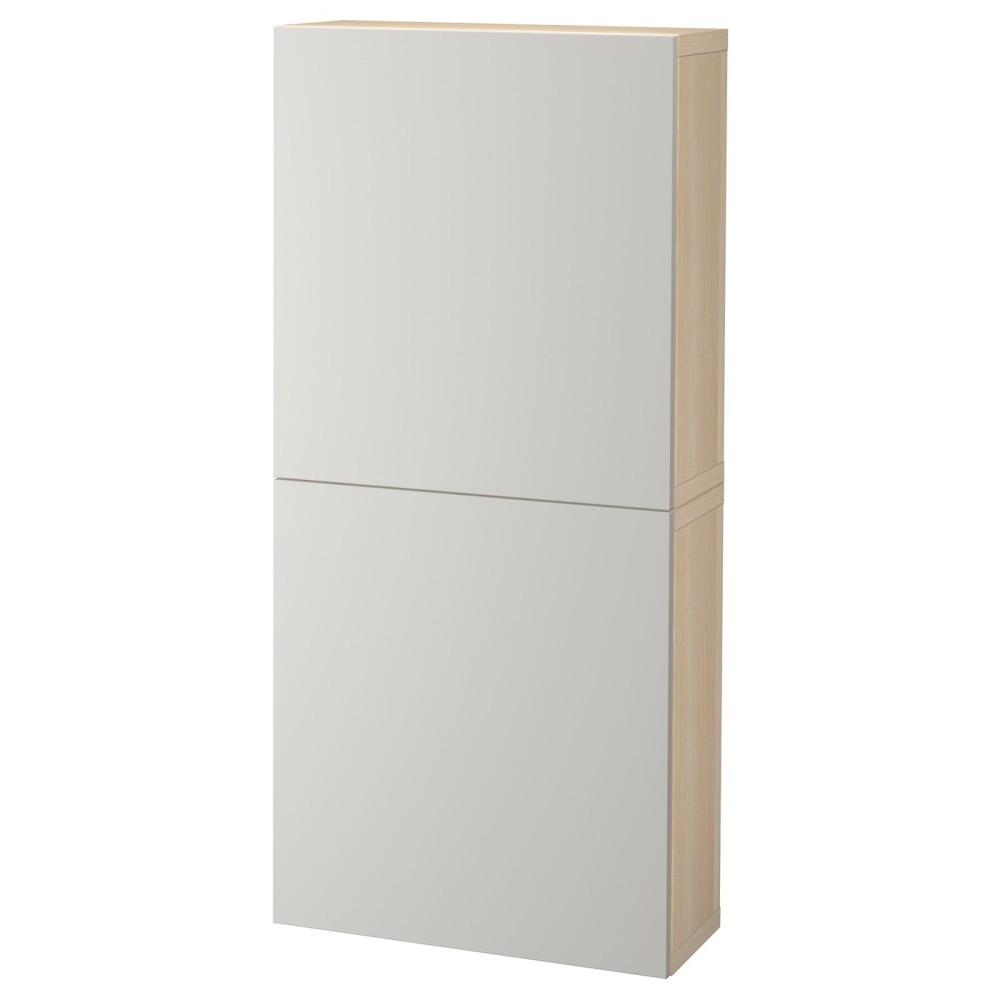 БЕСТО Навесной шкаф с 2 дверями, под беленый дуб, Лаппвикен светло-серый