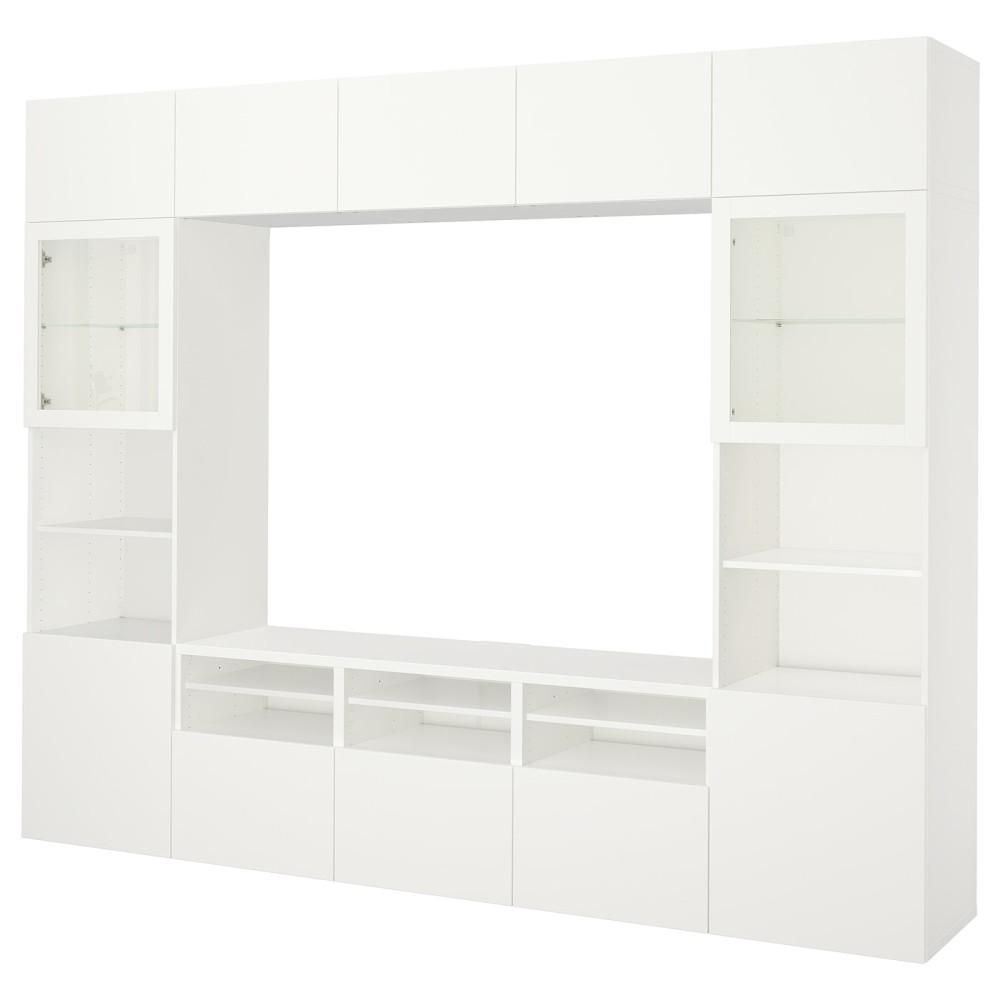 БЕСТО Шкаф для ТВ, комбин/стеклян дверцы, Лаппвикен, Синдвик белый прозрачное стекло