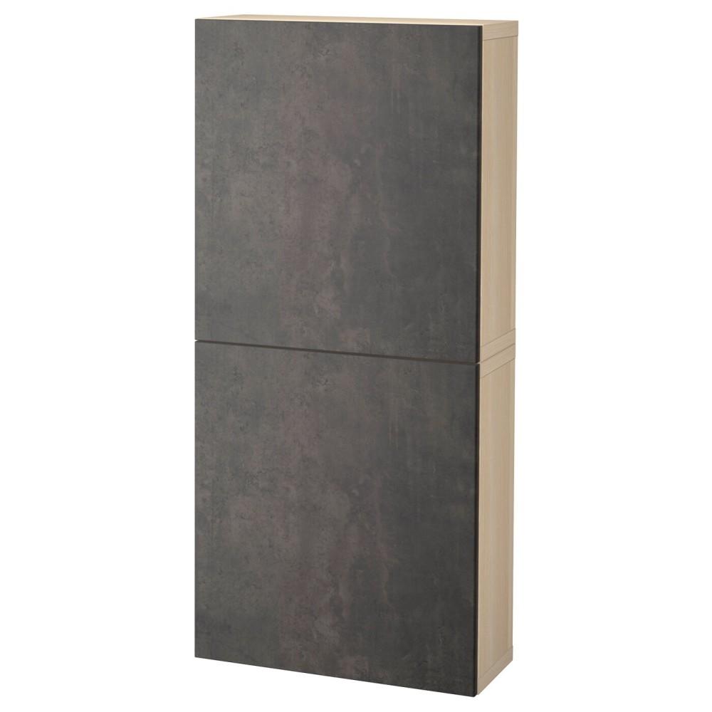 БЕСТО Навесной шкаф с 2 дверями, под беленый дуб Кэлльвикен, темно-серый под бетон