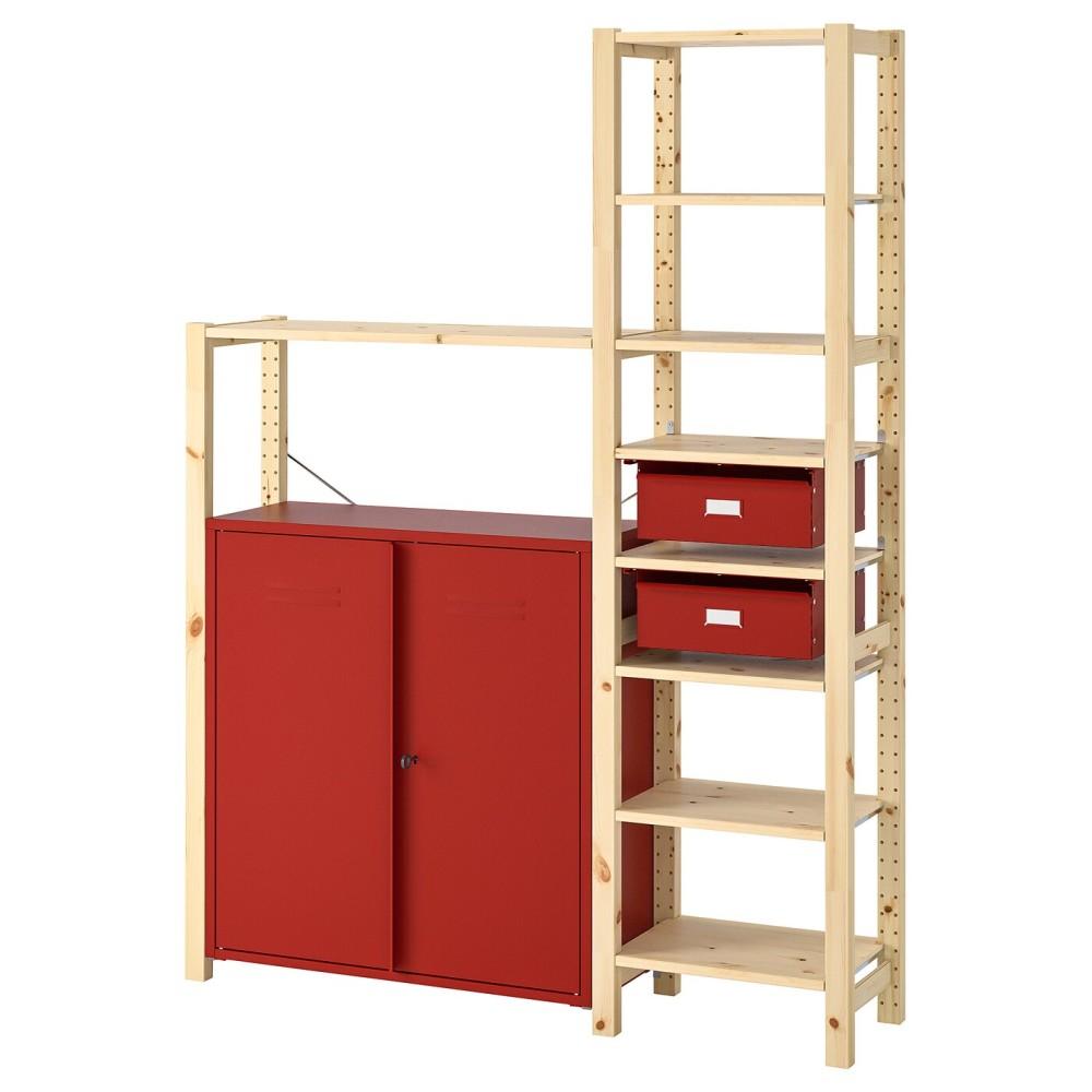 ИВАР Стеллаж со шкафами/ящиками, сосна, красный