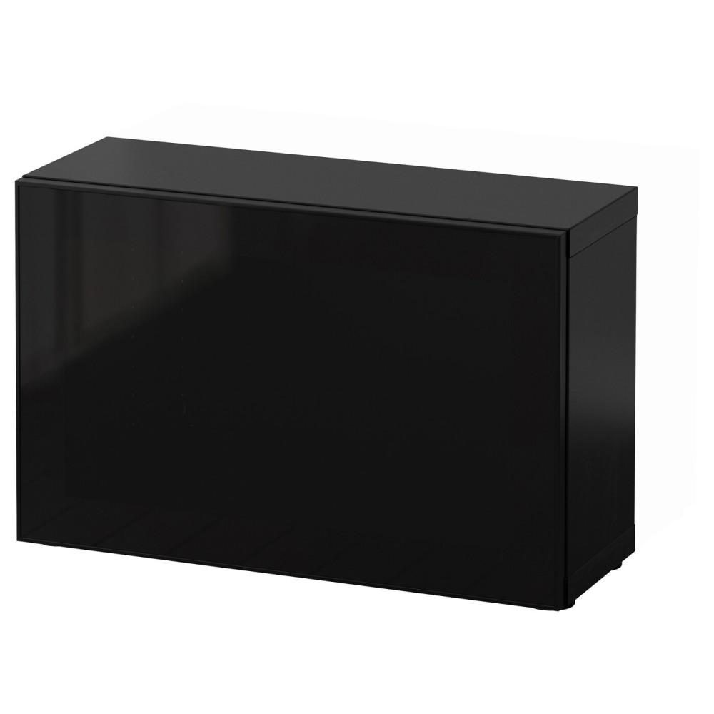 БЕСТО Стеллаж со стеклянн дверью, черно-коричневый, Глассвик черный/дымчатое стекло