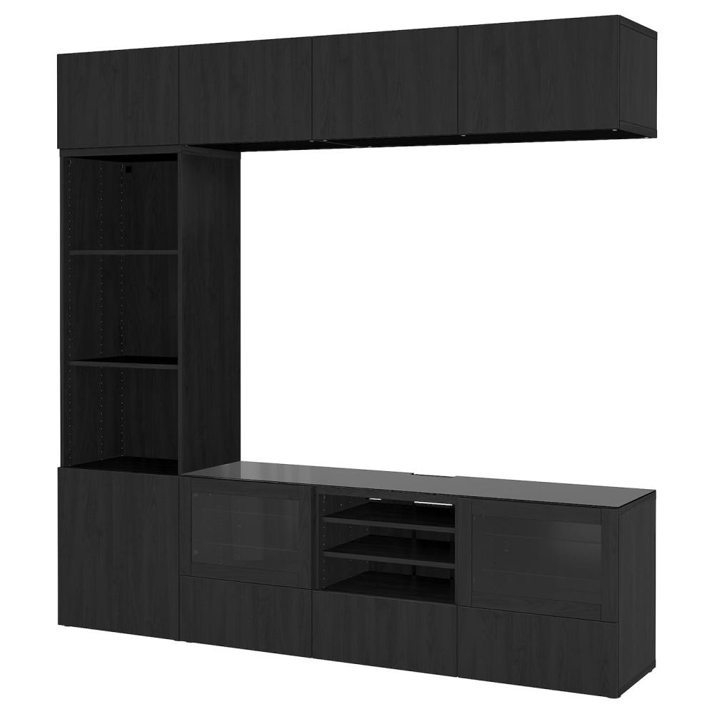 БЕСТО Шкаф для ТВ, комбин/стеклян дверцы, Лаппвикен, Синдвик черно-коричневый прозрачное стекло