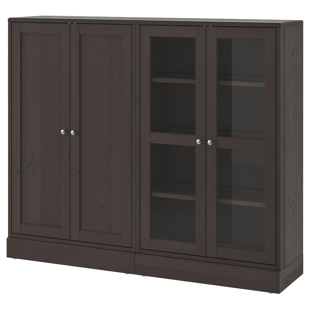 ХАВСТА Комбинация для хранения с сткл двр, темно-коричневый
