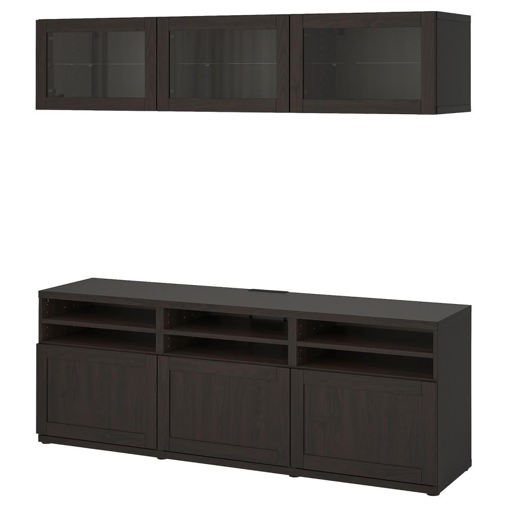 БЕСТО Шкаф для ТВ, комбин/стеклян дверцы, Ханвикен черно-коричневый прозрачное стекло
