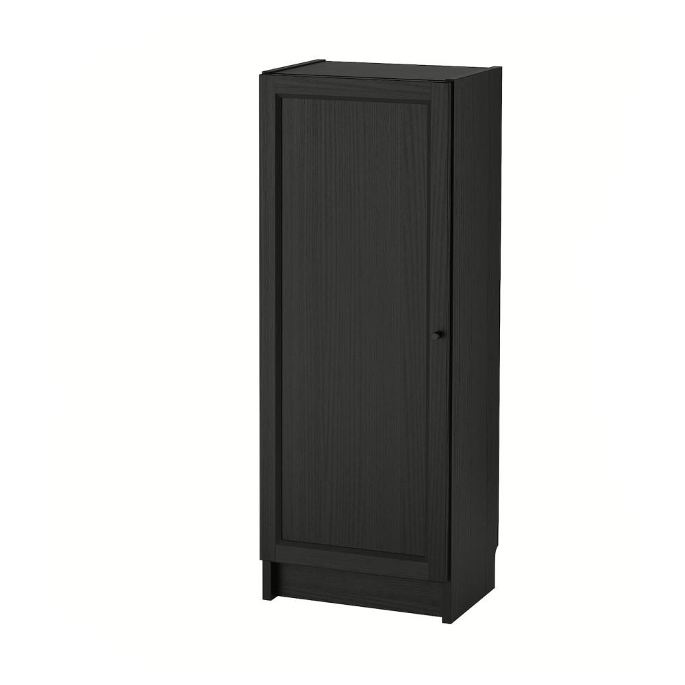 БИЛЛИ / ОКСБЕРГ Стеллаж с дверью, черно-коричневый