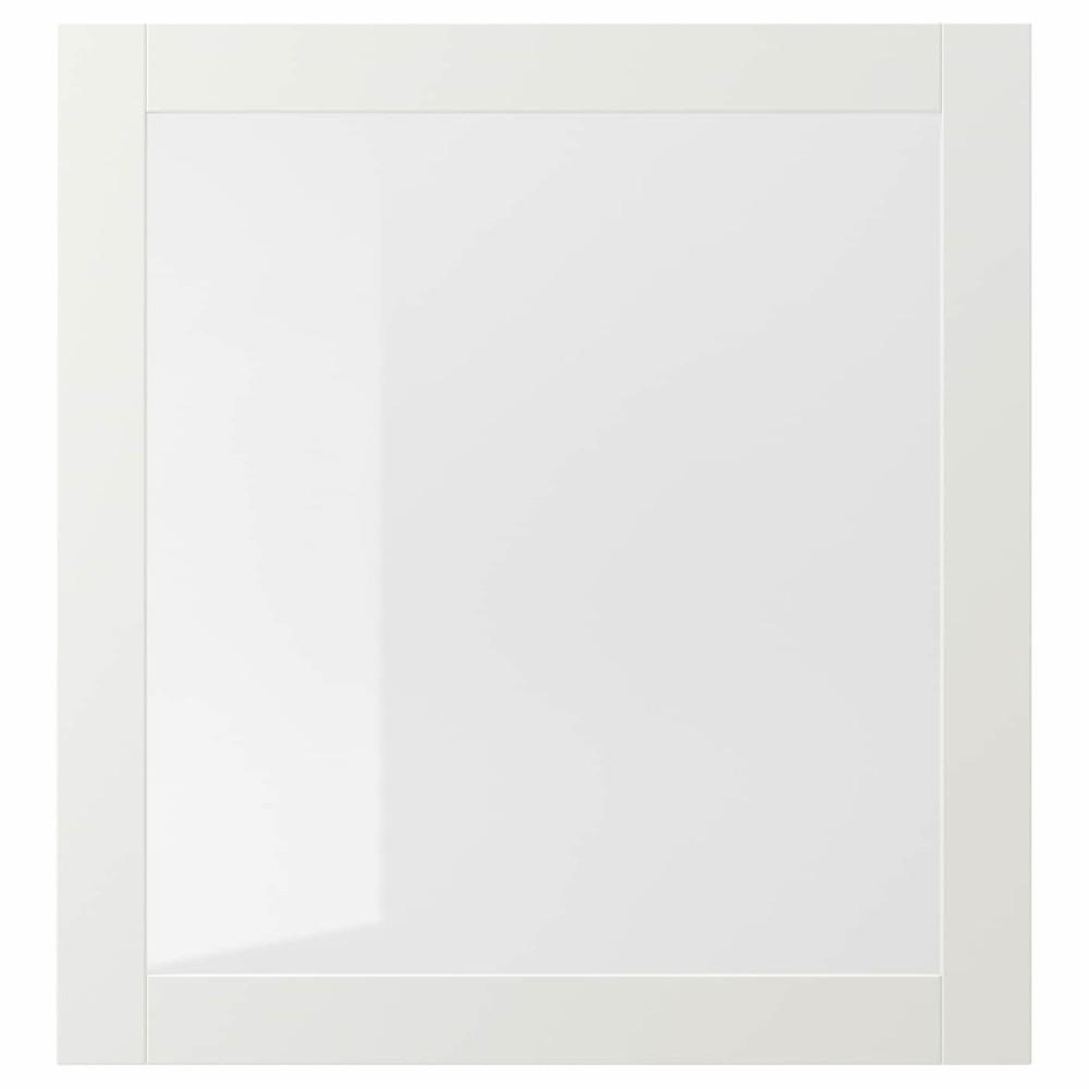 СИНДВИК Стеклянная дверь, белый, прозрачное стекло