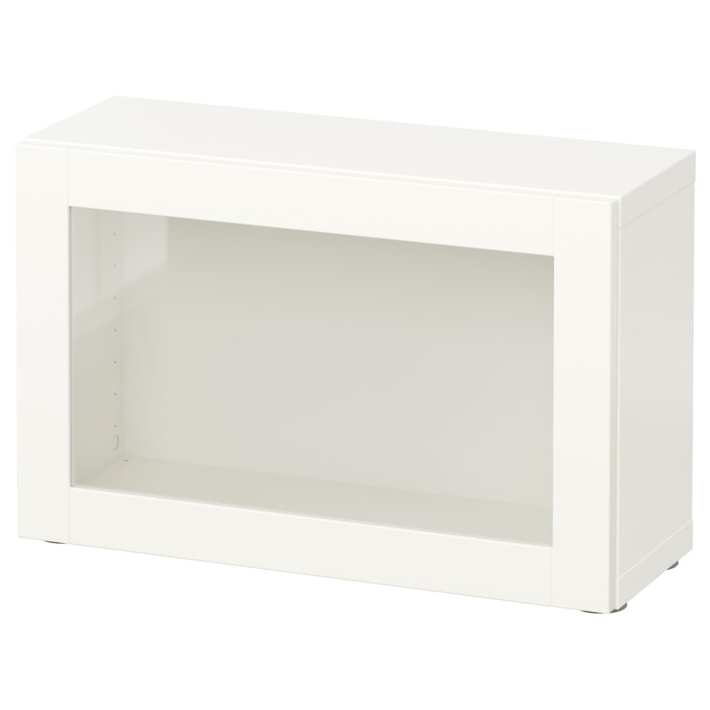 БЕСТО Стеллаж со стеклянн дверью, белый, Синдвик белый прозрачное стекло