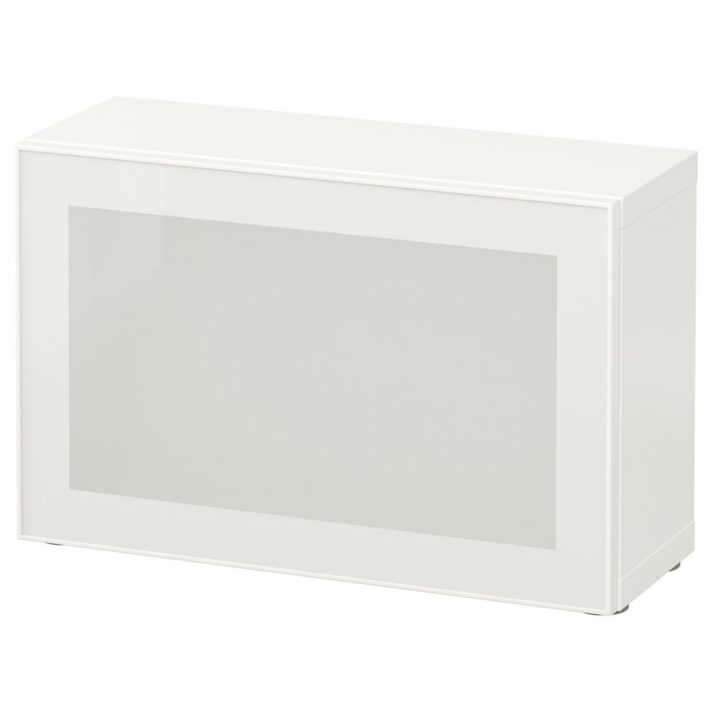 БЕСТО Стеллаж со стеклянн дверью, белый, Глассвик белый/матовое стекло