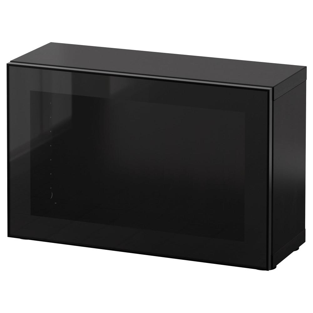 БЕСТО Стеллаж со стеклянн дверью, черно-коричневый, Глассвик черный/прозрачное стекло