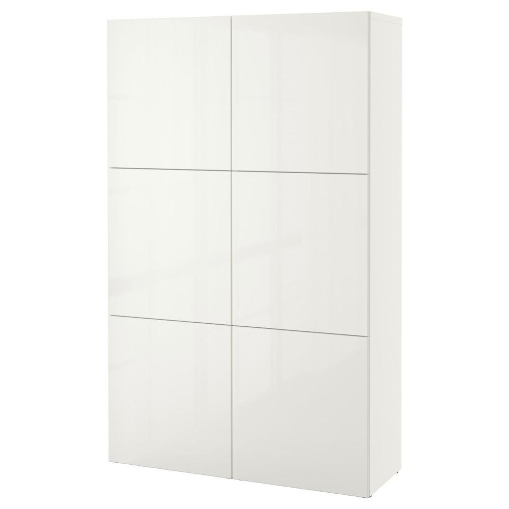 БЕСТО Комбинация для хранения с дверцами, белый, Сельсвикен глянцевый/белый