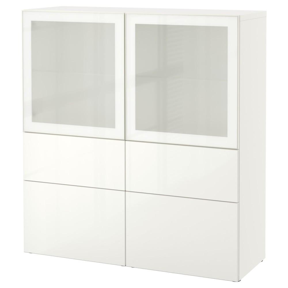 БЕСТО Комбинация д/хранения+стекл дверц, белый, Сельсвикен глянцевый/белый матовое стекло