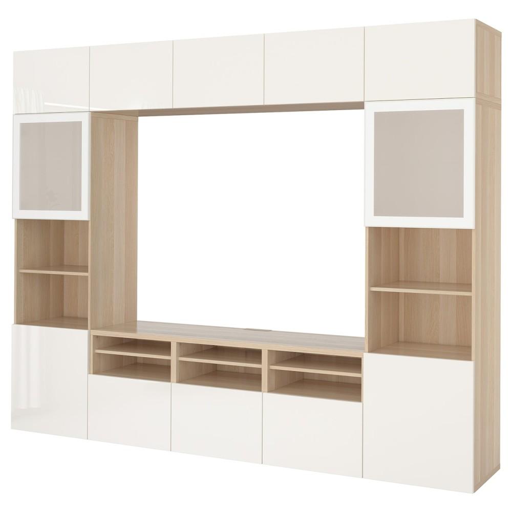 БЕСТО Шкаф для ТВ, комбин/стеклян дверцы, под беленый дуб, Сельсвикен глянцевый/белый матовое стекло