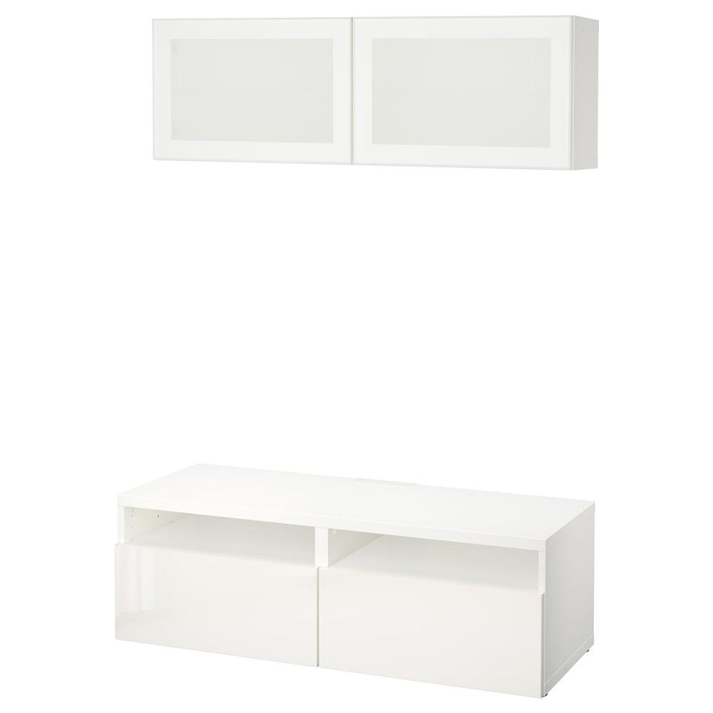 БЕСТО Шкаф для ТВ, комбин/стеклян дверцы, белый, Сельсвикен глянцевый/белый матовое стекло