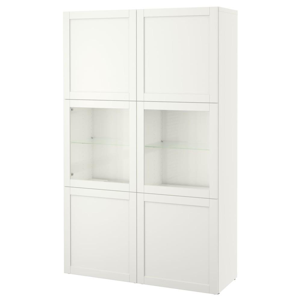 БЕСТО Комбинация д/хранения+стекл дверц, Ханвикен, Синдвик белый прозрачное стекло