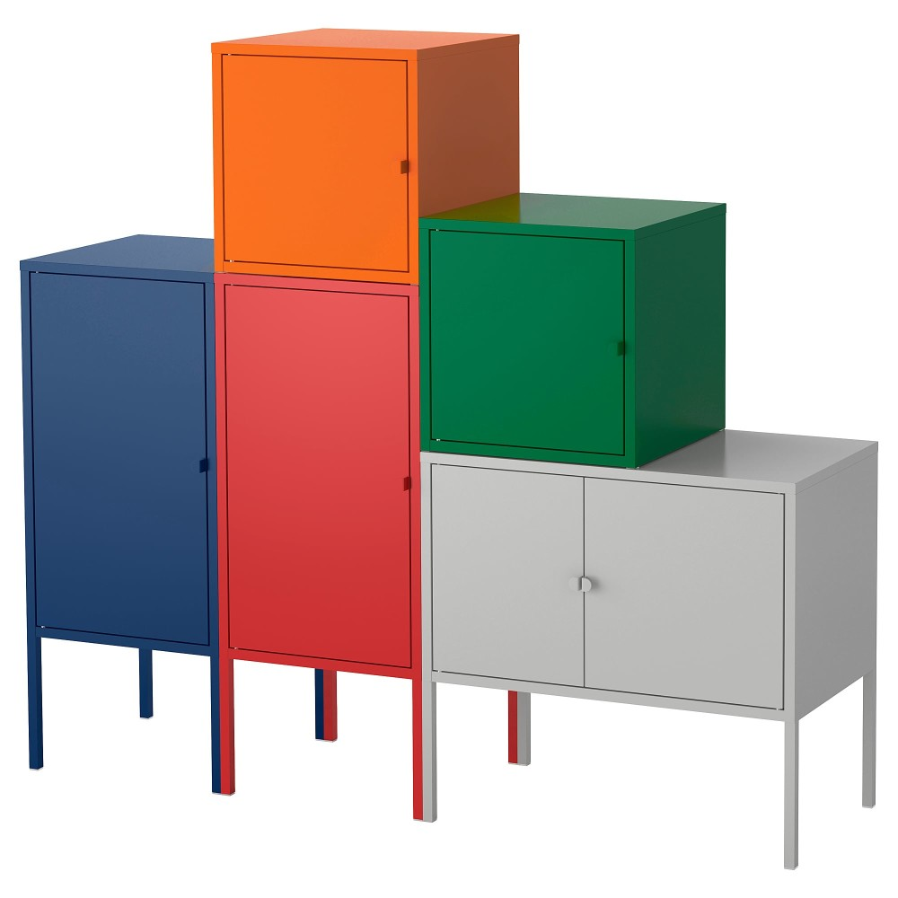 ЛИКСГУЛЬТ Комбинация д/хранения, темно-синий красный/оранжевый/серый, темно-зеленый