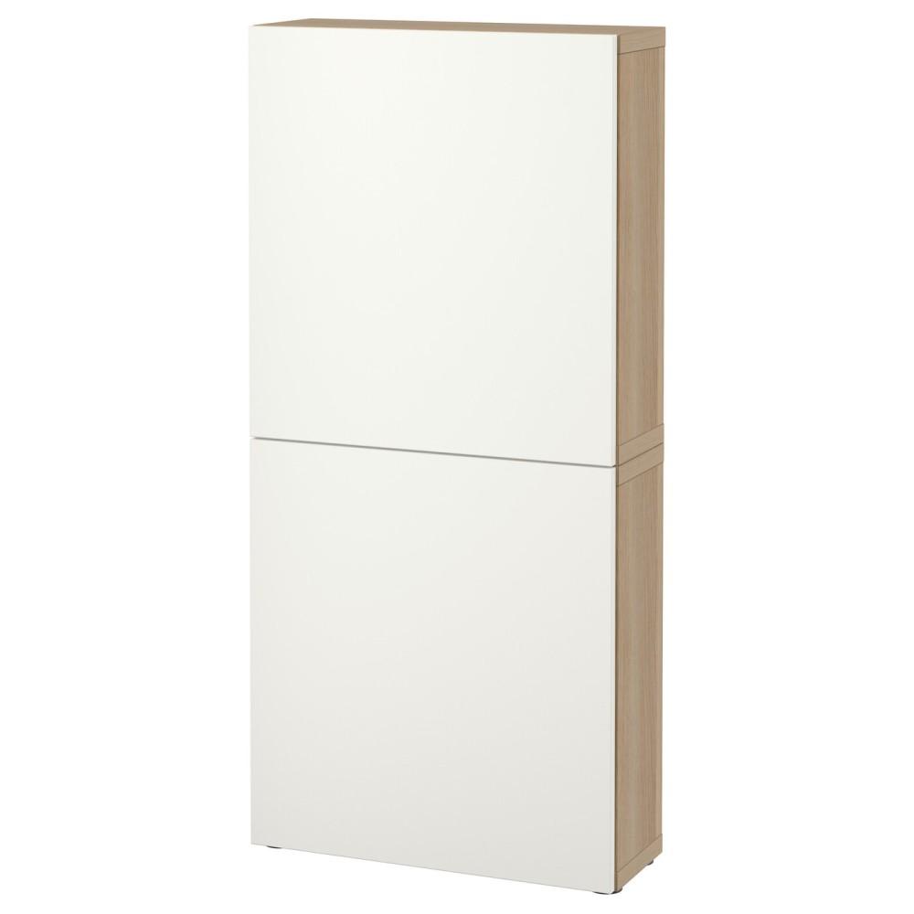 БЕСТО Навесной шкаф с 2 дверями, под беленый дуб, Лаппвикен белый
