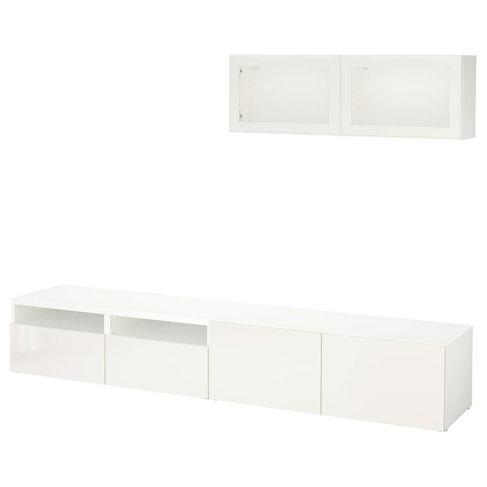 БЕСТО Шкаф для ТВ, комбин/стеклян дверцы, белый, Сельсвикен глянцевый/белый прозрачное стекло