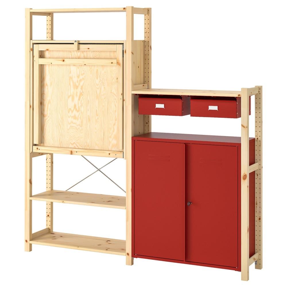 ИВАР Стеллаж со столом/шкафами/ящиками, сосна, красный
