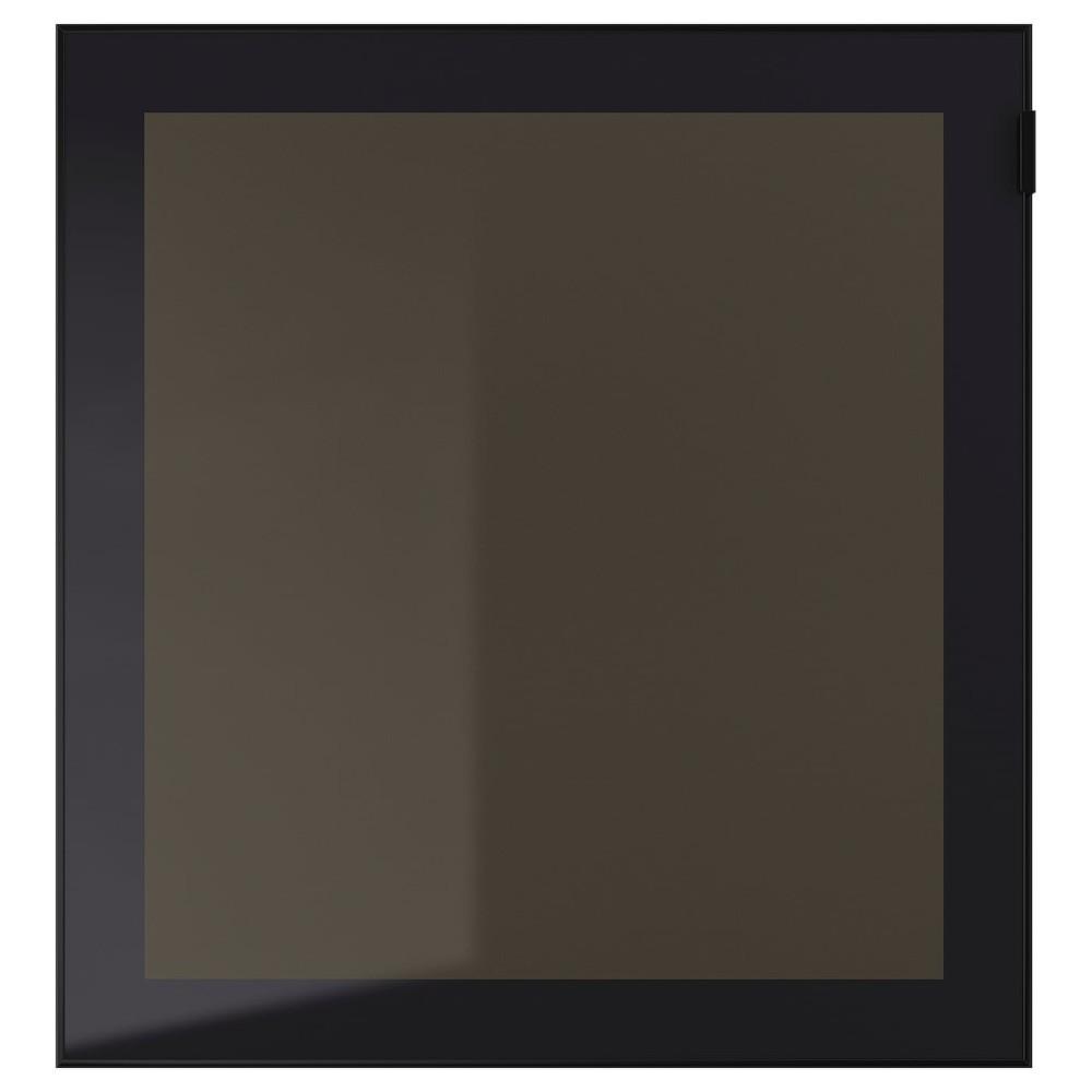 ГЛАССВИК Стеклянная дверь, черный, дымчатое стекло
