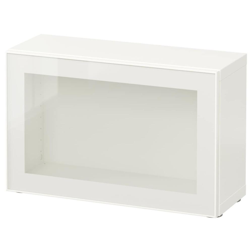 БЕСТО Стеллаж со стеклянн дверью, белый, Глассвик белый/прозрачное стекло