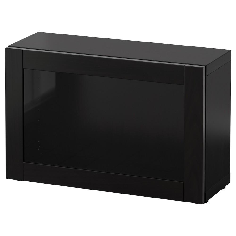 БЕСТО Стеллаж со стеклянн дверью, черно-коричневый черно-коричневый, Синдвик черно-коричневый прозрачное стекло
