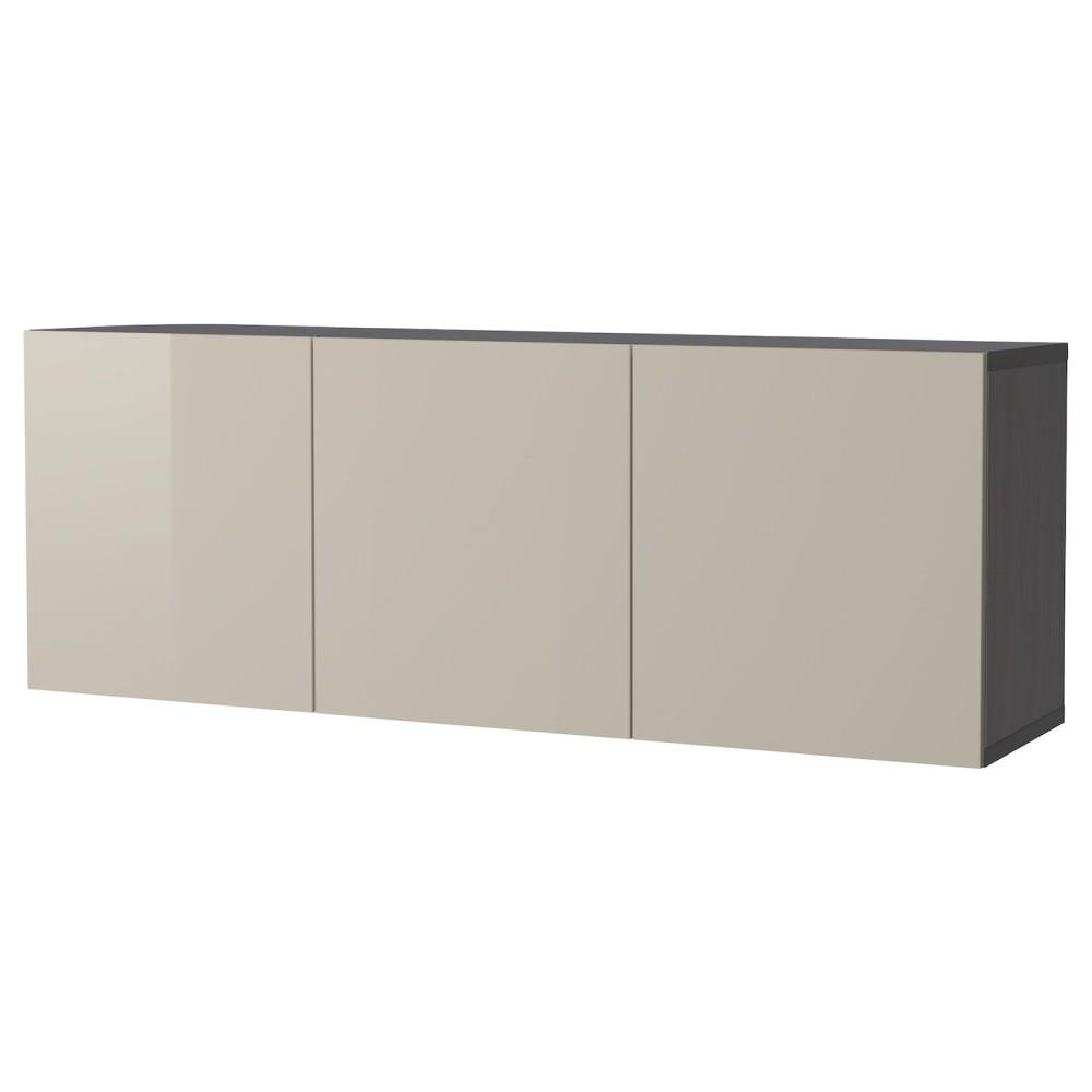 БЕСТО Комбинация настенных шкафов, черно-коричневый черно-коричневый, Сельсвикен глянцевый/бежевый