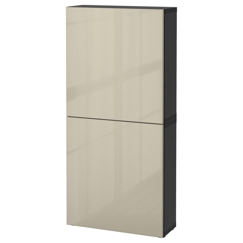 БЕСТО Навесной шкаф с 2 дверями, черно-коричневый, Сельсвикен глянцевый/бежевый