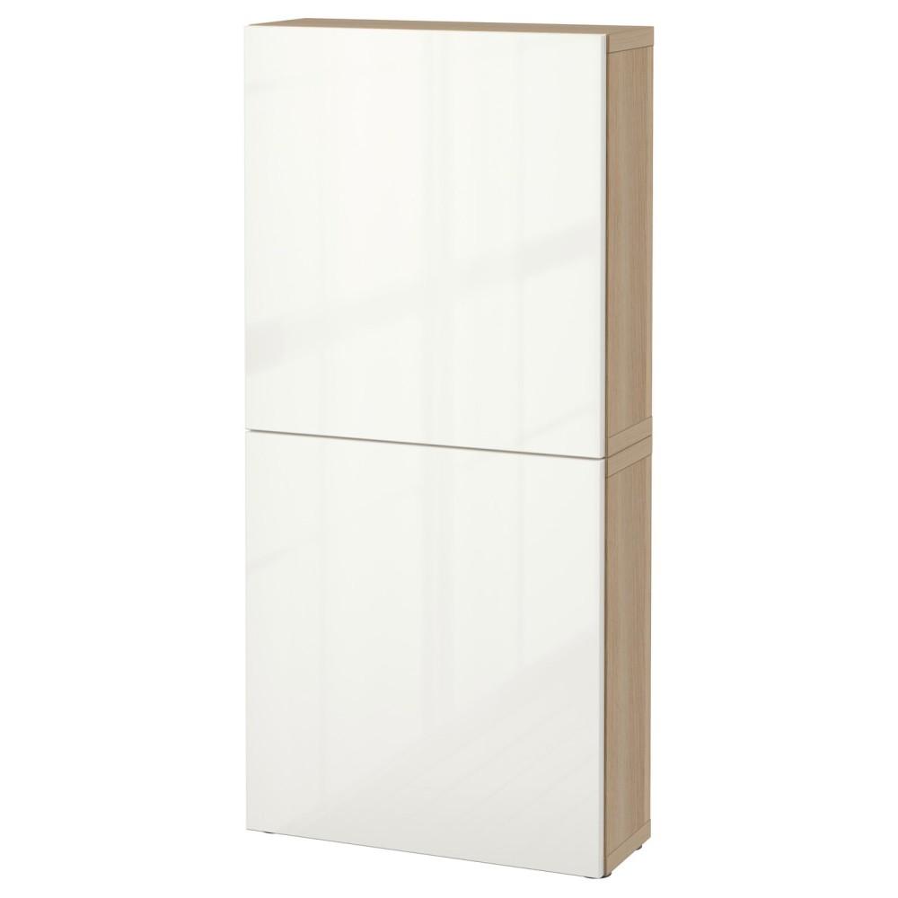 БЕСТО Навесной шкаф с 2 дверями, под беленый дуб, Сельсвикен глянцевый/белый