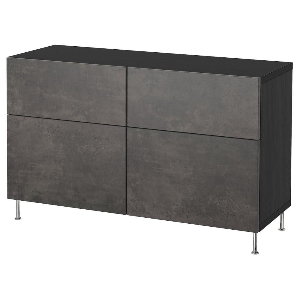 БЕСТО Комб для хран с дверц/ящ, черно-коричневый Кэлльв/Сталларп, темно-серый под бетон