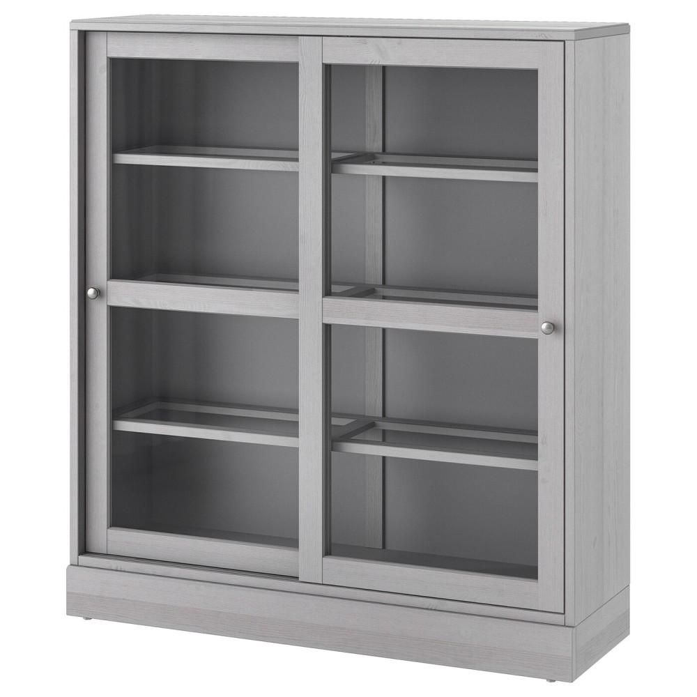 ХАВСТА Шкаф-витрина с цоколем, серый, прозрачное стекло