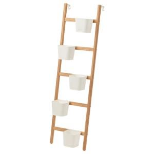 САТСУМАС Подставка с 5 кашпо, бамбук, белый