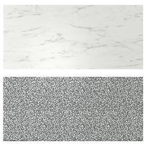 ЛИЗЕКИЛЬ Настенная панель, двусторонний под белый мрамор, черный/белый мозаичный орнамент