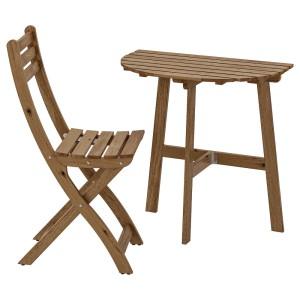 АСКХОЛЬМЕН Стол+1 складной стул, д/сада, серо-коричневая морилка