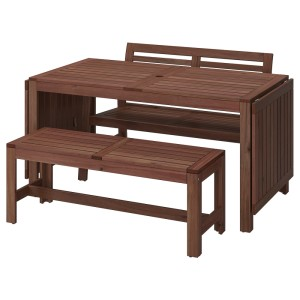 ЭПЛАРО Стол+2 скамьи, д/сада, коричневая морилка