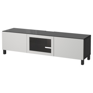 БЕСТО Тумба под ТВ, с дверцами, черно-коричневый Синдвик, Лаппвикен светло-серый прозрачное стекло