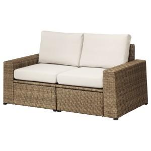 СОЛЛЕРОН 2-местный модульный диван, садовый, коричневый, ФРЁСЁН/ДУВХОЛЬМЕН бежевый