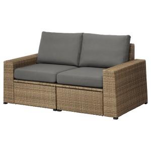 СОЛЛЕРОН 2-местный модульный диван, садовый, коричневый, ФРЁСЁН/ДУВХОЛЬМЕН темно-серый