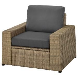 СОЛЛЕРОН Садовое кресло, коричневый, ФРЁСЁН/ДУВХОЛЬМЕН темно-серый